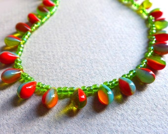 Hot Summer Glass Bead Necklace, Multicolor Rainbow Teardrop Red Green Orange Blue Glass Bead Necklace, Lime Green Glass Necklace
