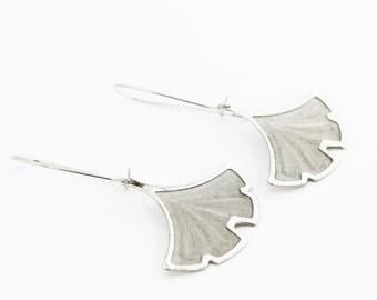 Silver Ginkgo Earring