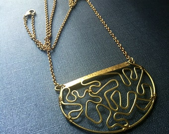 Freeform Brass Wire Necklace