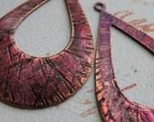 Violet Opal Hatched Copper Hoop Findings - 1 pair