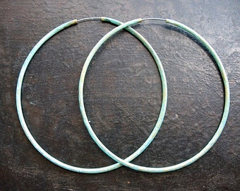 Vintage Brass Hoops in Verdigris