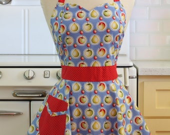 Retro Sweetheart Apron Apples on Blue BELLA
