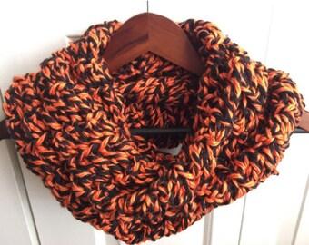 SALE! Orange and Black Infinity Scarf