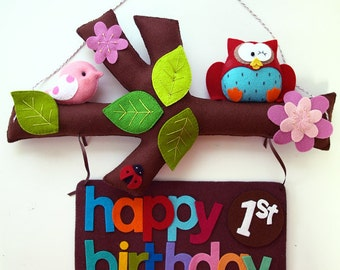 NEW Happy Birthday TREE STORY, Personalized Custom Birthday Banner, Kids Room and Baby Nursery Decor, Wall Art Signage, Birthday Party Decor
