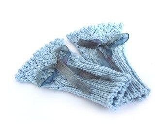 Lace knit cuffs, lacy knitted ribbon handwarmers, elegant fingerless mitts, feminine Victorian style wristwarmers, placid blue, uk seller