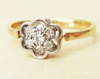 Art Deco Framed Diamond Flower Ring, 18ct Gold Diamond Engagement Ring Approx. Size 6.5