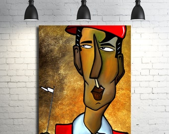 Abstract golf painting Modern Home Decor LARGE Canvas Wall Art by Fidostudio