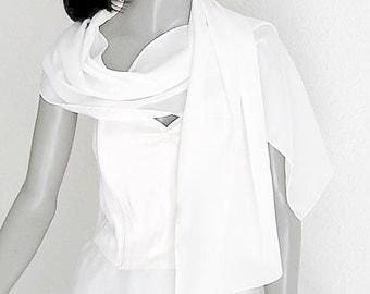 "White Silk Scarf, White Crepe Scarf, White Men Scarf, Natural White, Light Ivory, Pure Natural Silk, Crepe 100% Silk, Hand Hemmed 13"" x 56""."