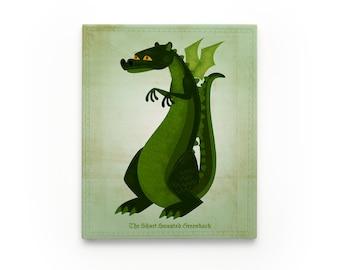 The Short Snouted Greenback Dragon Art Block- Cute Dragon Nursery Art- Dragon Decor- Dragon Gift- Dragon Print- Dragon Wall Art