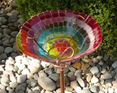 Mosaic Style Fused Glass Bird Feeder Garden Stake