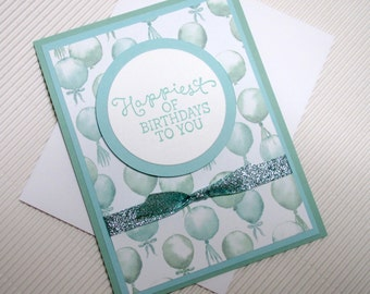 Happy birthday card handmade stamped glitter ribbon dimensional balloons aqua green stationery greeting party paper