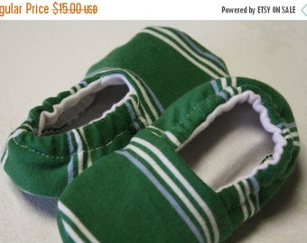 35% OFF CRAZY SALE- Green Baby Shoes-Upcycled-Eco Friendly- 3-6 Months-Classic Stripes