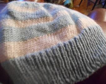 Hand knit knitted cormo wool llama hat ski cap beanie one size men women teen white natural aqua blue