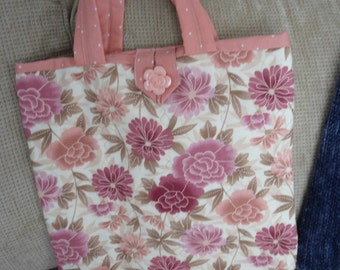 """Tote Bag,Handcrafted,Quilted,100% Cotton Fabrics, 14""""Wx15""""L,Peach/Coral Floral Pattern"""