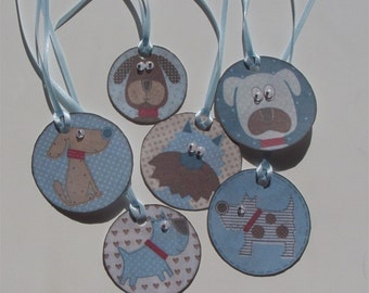 gift tags hang tags dogs blue gift wrap birthday present jiggle roly poly eyes