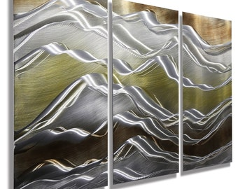 Gold, Silver U0026 Brown Modern Metal Wall Art   Contemporary Painting   Accent