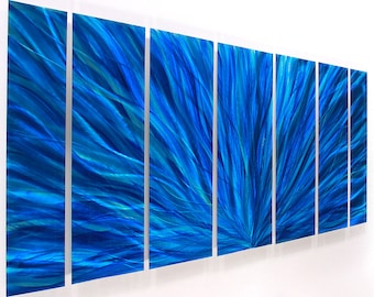 Blue Abstract Metal Wall Art - Bright Wall Accent - Modern Home Decor - Metal Painting - Handpainted Artwork - Blue Plumage by Jon Allen