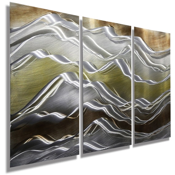 Wall Art Gold And Silver : New gold silver brown modern metal wall art contemporary