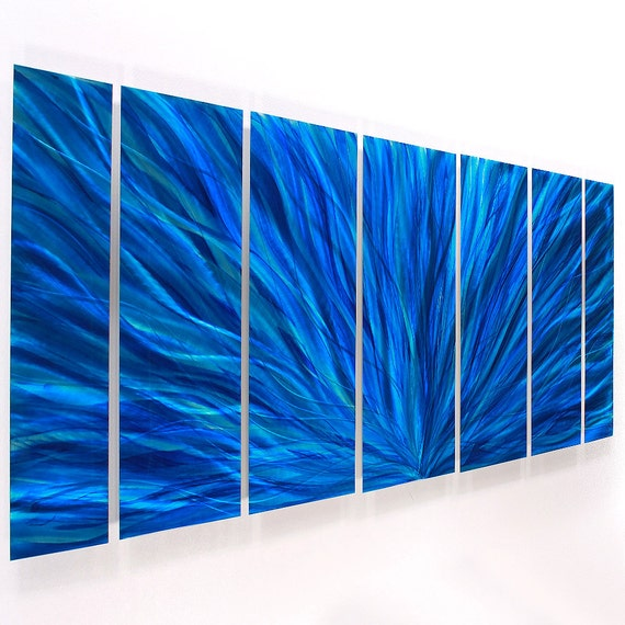 Abstract Accent Wall: Blue Abstract Metal Wall Art Bright Wall Accent Modern