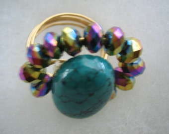 Turquoise Cabochon ring with Swarovski crystal beads