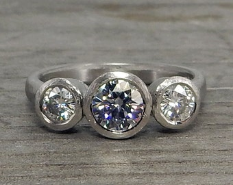 Moissanite Three Stone Ring - Rare Grey Moissanite and Recycled 950 Palladium - Engagement or Wedding Ring - size 6.25