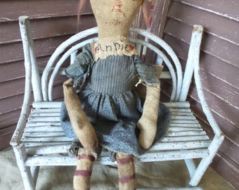 Old, Very Worn, Torn, Extreme Primitive, Primitive, Old Cloth Doll, Rag Doll,Raggedy Ann, TeamHaHa, Hafair, Doll by Mustard Seed Originals