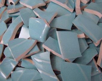 Mosaic Supplies Tiles Broken Plates Tesserae Art Hand Cut Vintage aqua Blue Set mix