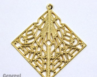 25mm Gold Lacy Square Filigree #FIB055