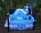 NEW 7 piece baby blue baby crib bedding set in Michael Jordan JUMPMAN fabrics
