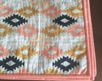 Arizona Agave Field Aztec Mint Coral Navy Mustard quilted minky baby blanket