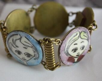 Vintage folk art enameled panel bracelet   painted lady cameo bracelet   Audrey Hepburn bangle bracelet