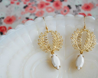 brass laurel wreath and vintage white stone dangle earrings