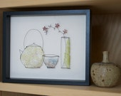 Japanese Tea Time wire framed picture