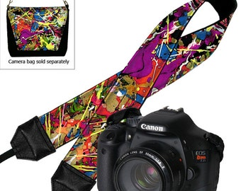 DSLR Camera Strap,   Padded Camera Strap,  Nikon Camera Strap, Canon Strap,  Camera Accessories, Paint Splatter,  Boho red blue purple   RTS