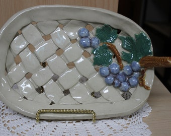 Basket weave plate with grapes / Handmade pottery