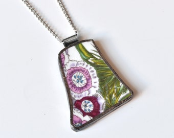 Broken China Jewelry Pendant - Portmeirion China - Pink and Green Flower