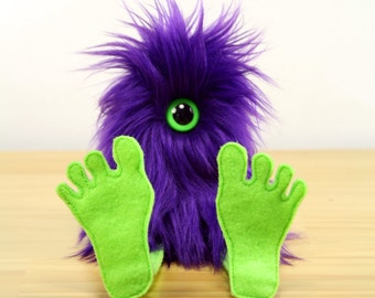 Nervous Nelly Plush Monster Toy- Purple