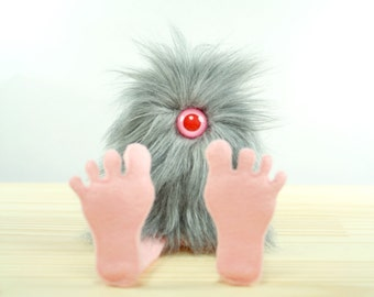 Nervous Nelly Plush Monster Toy- Gray and Pink