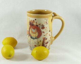 Unique coffee cup in yellow, pottery tea mug, unique coffee mugs, owl teacup, pen cup, fall dinnerware, Made in America Mug, Owl Cup, 502