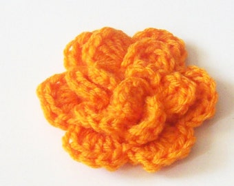 Layered Flower Crochet Applique, Orange Flower Embellishment, Three Layer Flower, Crochet Flower Motif