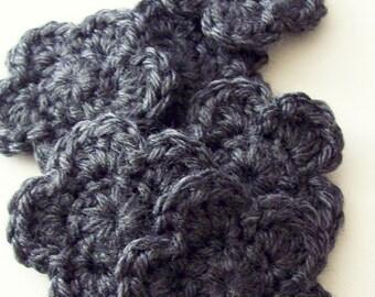 Crochet Flowers Appliques, Charcoal Gray Flower, Crochet Flower Embellishment, Scrapbooking, Crochet Flower Motif
