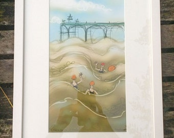 Framed A3 Swimming Print of your choice, open water swimming