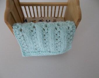 Minature Doll Blanket,Blanket/Bunk/Twin Blanket 1/12 Scale Minitarure Baby/Light Green Blanket