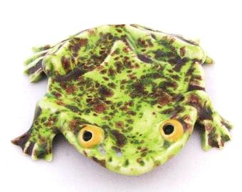 Pistachio Green Ceramic Frog Tea Bag Holder Small Spoon Rest Amphibian Aquarium Decor Indoor or Outdoor Pond Accent