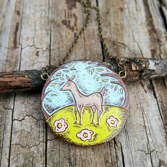 Rustic Deer Necklace, Woodland Fawn Pendant, Pastel Deer Jewelry, Cute Deer in the Forest Pendant, Gift for Her, Girlfriend Gift, Wife Gift