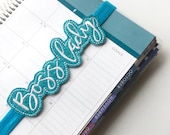 Boss lady Planner band ~ Planner band turquoise glitter ~ Boss lady bookmark ~ Turquoise bookmark ~ Page marker Boss Lady