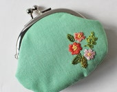 Handmade coin purse embroidered spring flowers pink on mint green kiss lock coin purse change purse flower embroidery light green purse