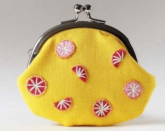 Coin purse pink grapefruit on yellow kiss lock coin purse yellow coin purse change purse red grapefruit citrus embroidery embroidered