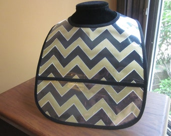 WATERPROOF WIPEABLE Baby to Toddler Plastic Coated Bib Gold and Black Chevron New Orleans Saints