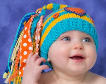6 - 12 month Baby Boy Knit Hat BaBY PHoTO PRoP Turquoise Yellow Stripe Stocking Hat BIG Tassel HeART BuTTON Cap CHuCKLeS Beanie CHooSE CoLOR